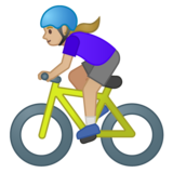 Woman Biking: Medium-Light Skin Tone on Google Android 10.0 March 2020 Feature Drop