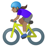 Woman Biking: Medium Skin Tone on Google Android 10.0 March 2020 Feature Drop