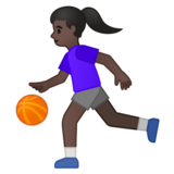 Woman Bouncing Ball: Dark Skin Tone on Google Android 10.0 March 2020 Feature Drop