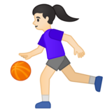 Woman Bouncing Ball: Light Skin Tone on Google Android 10.0 March 2020 Feature Drop