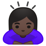 Woman Bowing: Dark Skin Tone on Google Android 10.0 March 2020 Feature Drop