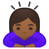 Woman Bowing: Medium-Dark Skin Tone on Google Android 10.0 March 2020 Feature Drop