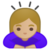 Woman Bowing: Medium-Light Skin Tone on Google Android 10.0 March 2020 Feature Drop