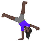 Woman Cartwheeling: Dark Skin Tone on Google Android 10.0 March 2020 Feature Drop