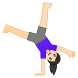 Woman Cartwheeling: Light Skin Tone on Google Android 10.0 March 2020 Feature Drop