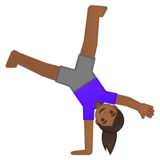 Woman Cartwheeling: Medium-Dark Skin Tone on Google Android 10.0 March 2020 Feature Drop