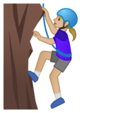 Woman Climbing: Medium-Light Skin Tone on Google Android 10.0 March 2020 Feature Drop