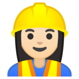 Woman Construction Worker: Light Skin Tone on Google Android 10.0 March 2020 Feature Drop