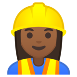 Woman Construction Worker: Medium-Dark Skin Tone on Google Android 10.0 March 2020 Feature Drop