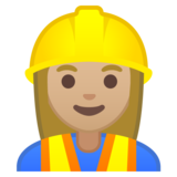 Woman Construction Worker: Medium-Light Skin Tone on Google Android 10.0 March 2020 Feature Drop