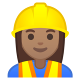 Woman Construction Worker: Medium Skin Tone on Google Android 10.0 March 2020 Feature Drop