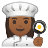Woman Cook: Medium-Dark Skin Tone on Google Android 10.0 March 2020 Feature Drop