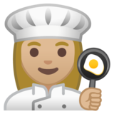 Woman Cook: Medium-Light Skin Tone on Google Android 10.0 March 2020 Feature Drop