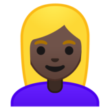 Woman: Dark Skin Tone, Blond Hair on Google Android 10.0 March 2020 Feature Drop
