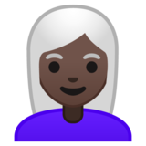 Woman: Dark Skin Tone, White Hair on Google Android 10.0 March 2020 Feature Drop