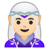 Woman Elf: Light Skin Tone on Google Android 10.0 March 2020 Feature Drop