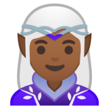 Woman Elf: Medium-Dark Skin Tone on Google Android 10.0 March 2020 Feature Drop
