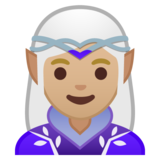 Woman Elf: Medium-Light Skin Tone on Google Android 10.0 March 2020 Feature Drop