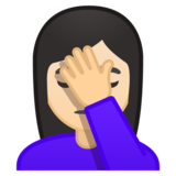 Woman Facepalming: Light Skin Tone on Google Android 10.0 March 2020 Feature Drop
