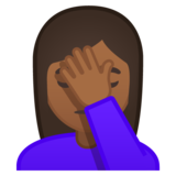 Woman Facepalming: Medium-Dark Skin Tone on Google Android 10.0 March 2020 Feature Drop