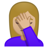 Woman Facepalming: Medium-Light Skin Tone on Google Android 10.0 March 2020 Feature Drop