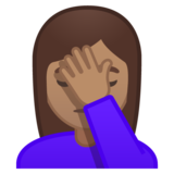 Woman Facepalming: Medium Skin Tone on Google Android 10.0 March 2020 Feature Drop