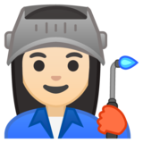 Woman Factory Worker: Light Skin Tone on Google Android 10.0 March 2020 Feature Drop