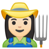 Woman Farmer: Light Skin Tone on Google Android 10.0 March 2020 Feature Drop