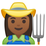 Woman Farmer: Medium-Dark Skin Tone on Google Android 10.0 March 2020 Feature Drop