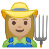 Woman Farmer: Medium-Light Skin Tone on Google Android 10.0 March 2020 Feature Drop