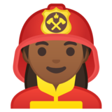 Woman Firefighter: Medium-Dark Skin Tone on Google Android 10.0 March 2020 Feature Drop