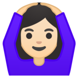 Woman Gesturing OK: Light Skin Tone on Google Android 10.0 March 2020 Feature Drop