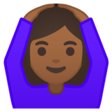 Woman Gesturing OK: Medium-Dark Skin Tone on Google Android 10.0 March 2020 Feature Drop