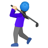 Woman Golfing: Light Skin Tone on Google Android 10.0 March 2020 Feature Drop