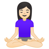 Woman in Lotus Position: Light Skin Tone on Google Android 10.0 March 2020 Feature Drop