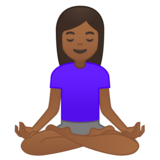 Woman in Lotus Position: Medium-Dark Skin Tone on Google Android 10.0 March 2020 Feature Drop