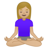 Woman in Lotus Position: Medium-Light Skin Tone on Google Android 10.0 March 2020 Feature Drop