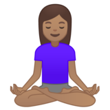Woman in Lotus Position: Medium Skin Tone on Google Android 10.0 March 2020 Feature Drop