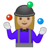 Woman Juggling: Medium-Light Skin Tone on Google Android 10.0 March 2020 Feature Drop