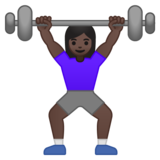 Woman Lifting Weights: Dark Skin Tone on Google Android 10.0 March 2020 Feature Drop