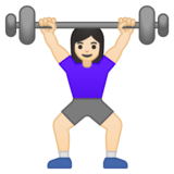 Woman Lifting Weights: Light Skin Tone on Google Android 10.0 March 2020 Feature Drop