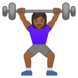 Woman Lifting Weights: Medium-Dark Skin Tone on Google Android 10.0 March 2020 Feature Drop