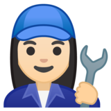 Woman Mechanic: Light Skin Tone on Google Android 10.0 March 2020 Feature Drop