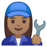 Woman Mechanic: Medium Skin Tone on Google Android 10.0 March 2020 Feature Drop