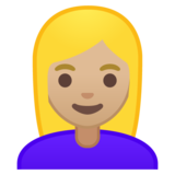 Woman: Medium-Light Skin Tone, Blond Hair on Google Android 10.0 March 2020 Feature Drop