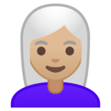 Woman: Medium-Light Skin Tone, White Hair on Google Android 10.0 March 2020 Feature Drop