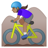 Woman Mountain Biking: Medium Skin Tone on Google Android 10.0 March 2020 Feature Drop
