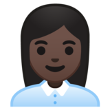 Woman Office Worker: Dark Skin Tone on Google Android 10.0 March 2020 Feature Drop