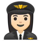 Woman Pilot: Light Skin Tone on Google Android 10.0 March 2020 Feature Drop