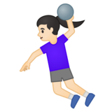 Woman Playing Handball: Light Skin Tone on Google Android 10.0 March 2020 Feature Drop